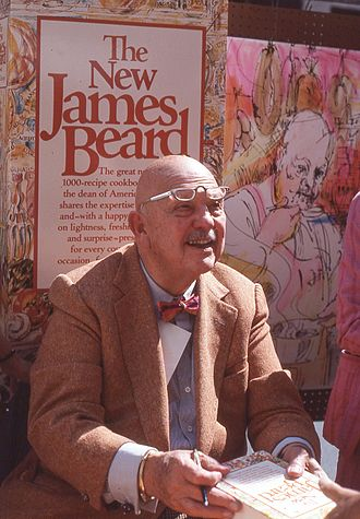 James Beard - James Beard signing books at a street fair in midtown Manhattan in 1981