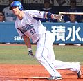 James Robert Romak infielder of the Yokohama DeNA BayStars, at Yokohama Stadium.jpg