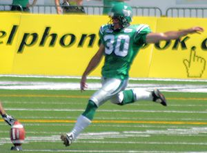 Jamie Boreham - Boreham kicking off for the Saskatchewan Roughriders in 2007