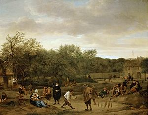 Bowling - The Bowling Game, by Dutch painter Jan Steen, c. 1655. Many Dutch Golden Age paintings depicted bowling.