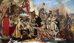 Antonio Possevino - Batory at Pskov. Painting by Jan Matejko. Possevino is the black-robed Jesuit at the center, blessing the offerings