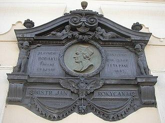 Jan Rokycana - Memorial plaque of John of Rokycany on town hall in his home town of Rokycany