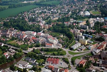 Air view on Czech town Jaroměř