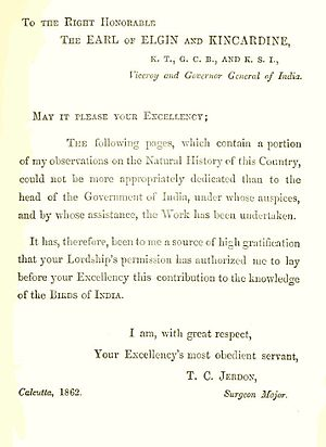 Thomas C. Jerdon - Dedication page from the Birds of India