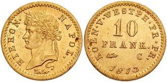 Pierre-Joseph Tiolier - Image: Jerome Napoleon AV 10 Franken 651166