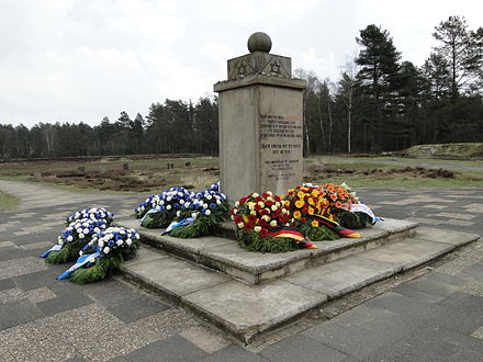 The Jewish Memorial at the site of the former camp, decorated with wreaths on Liberation Day, April 15, 2012 Jewish Memorial at Bergen-Belsen.JPG