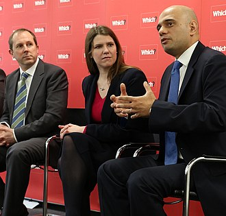 Jo Swinson - Swinson with Treasury minister Sajid Javid discussing payday lending at the Which? ministerial credit visit 2013.