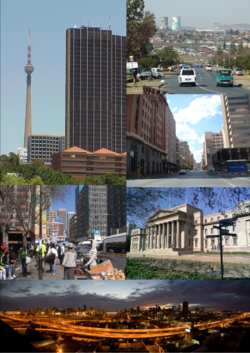 Clockwise: Sentech Tower and Radiopark; Soweto; a street in the Johannesburg CBD; the Wits University Great Hall; Johannesburg CBD at dawn; and Park Station, Braamfontein.