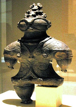 Ancient astronauts - A Dogū figurine from Japan (dated 1000–400 BCE). Ancient astronaut proponents suggest that these may represent extraterrestrial visitors.