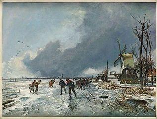 Paysage d'hiver avec patineurs