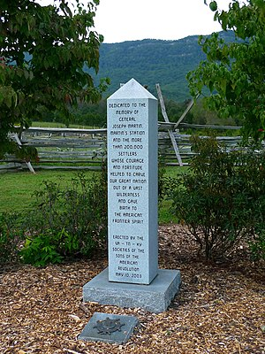 Joseph Martin (general) - General Joseph Martin (1740–1808), born Caroline County, Virginia, died Henry County, Virginia. Memorial to General Joseph Martin and settlers at Martin's Station, Virginia. Photograph courtesy of dmott9.