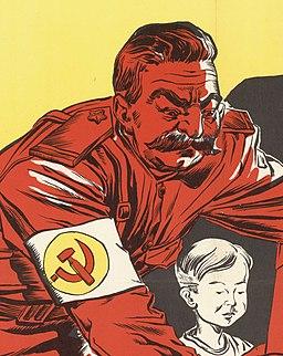 Joseph Stalin and child student art, from- Soviet Communism Threatens Education - NARA - 5730072 (cropped)