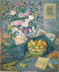 Vase with Bananas, Lemons and Books