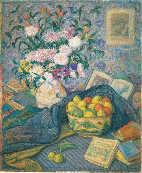 File:Juan de Echevarría - Vase with Bananas, Lemons and Books - Google Art Project.jpg