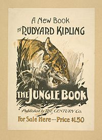 L'illustration, en noir, blanc et jaune, représente la tête de profil d'un tigre. Le texte : A new book by Rudyard Kipling, The Jungle Book published by The Century Co. For Sale Here - Price 1,50 $.