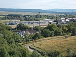 Jutas valiant lookout, view Lb-Knauf factory, Post sorting center, railway station and Ámos hill, Veszprém, 2016 Hungary.jpg