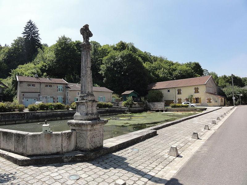 Kœur-la-Petite (Meuse) croix et étang du village