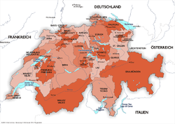 Names of the Swiss cantons in German.