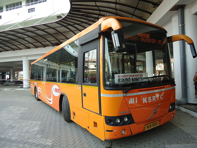 A Volvo B7RLE bus owned by the Kerala State Road Transport Corporation at Angamally Bus Station, heading for Aroor.