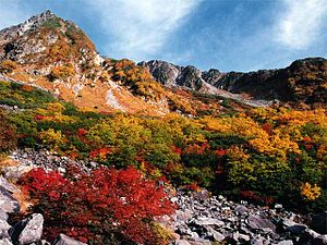 Autumn coloration at Karasawa of the Hodaka Mo...