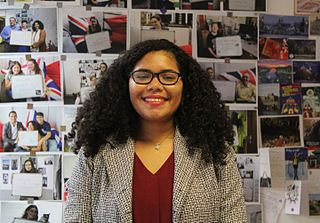 The image is a photograph of Karla Marte in the Wikimedia UK office