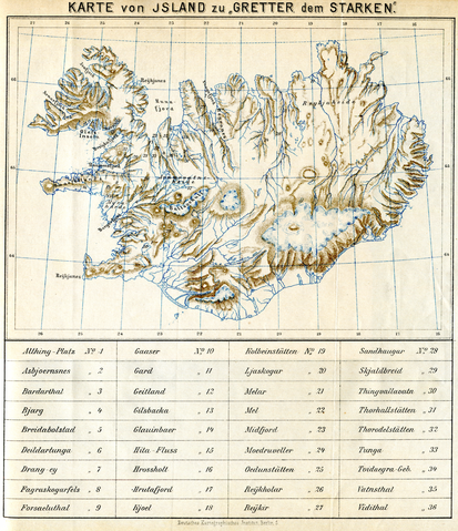 a map from an 1896 German copy of Grettis saga, one of the five Icelandic sagas that mention knattleikr – Icelandic Knattleikr (Viking Lacrosse)