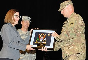 Kate Brown - Brown accepting an award from the Oregon National Guard, June 2014