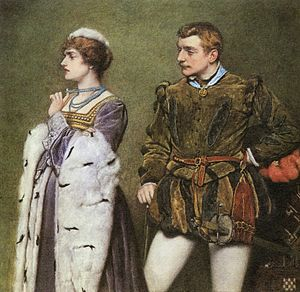 The Taming of the Shrew - Taming of the Shrew. Katherine and Petruchio by James Dromgole Linton (c.1890).