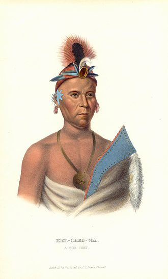 "Meskwaki - ""Kee-shes-wa, A Fox Chief,"" from History of the Indian Tribes of North America, (1836-1844, three volumes)"