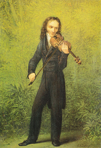 Bowed string instrument - Niccolo Paganini playing the violin, by Georg Friedrich Kersting (1785-1847)