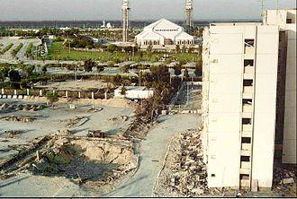 Khobar Towers bombing - Image: Khobar towers and crater