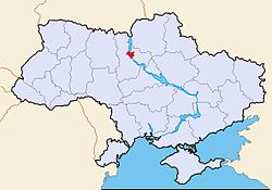 Map of Ukraine with Kiev highlighted