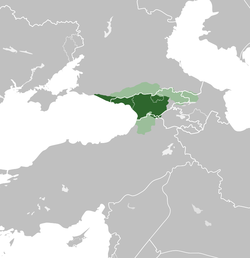 The Kingdom of Abkhazia from 850–950, at the peak of its territorial expansion. (Superimposed on modern borders.) .mw-parser-output .legend{page-break-inside:avoid;break-inside:avoid-column}.mw-parser-output .legend-color{display:inline-block;min-width:1.25em;height:1.25em;line-height:1.25;margin:1px 0;text-align:center;border:1px solid black;background-color:transparent;color:black}.mw-parser-output .legend-text{}   Kingdom of Abkhazia .mw-parser-output .legend{page-break-inside:avoid;break-inside:avoid-column}.mw-parser-output .legend-color{display:inline-block;min-width:1.25em;height:1.25em;line-height:1.25;margin:1px 0;text-align:center;border:1px solid black;background-color:transparent;color:black}.mw-parser-output .legend-text{}   Tributaries and sphere of influences