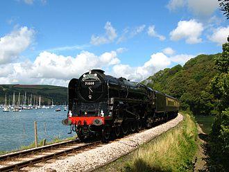 Dartmouth Steam Railway - 71000 Duke of Gloucester beside the River Dart