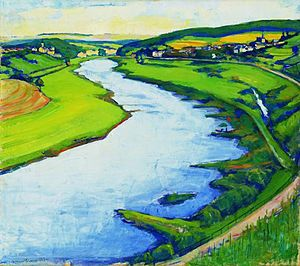 Luxembourg art - Nico Klopp: Stretch of the Moselle at Greiveldange with Stadtbredimus (1930)