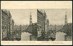 Knackstedt & Näther Stereoskopie 0871 Deutschland, Hamburg, Fleth bei der Reimersbrücke, Bildseite Nikolaifleet Schiffe Katharinenkirche, Postkarte um 1900 DRGMs 83768 und 92395.jpg