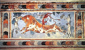 Bullfighting - Bull-leaping: Fresco from Knossos, Crete