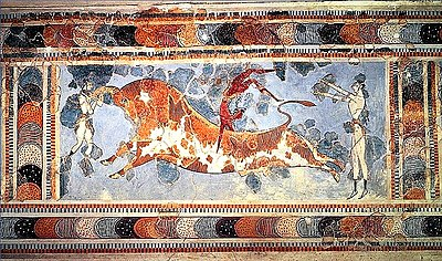 "A fresco found at the Minoan site of Knossos, indicating a sport or ritual of ""bull leaping"", the dark skinned figure is a man and the two light skinned figures are women"