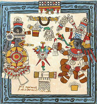 Xolotl - Codex Borbonicus (p. 16) Xolotl is depicted as a companion of the Setting Sun. He is pictured with a knife in his mouth, a symbol of death.