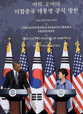 Park Geun-hye - Park Geun-hye and U.S. President Barack Obama, 25 April 2014