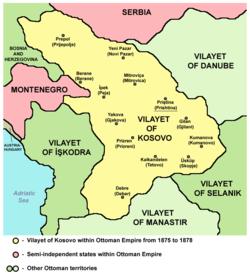 1875-1878 yıllarında Kosova illeri