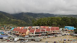 Rows of shoplots in Kundasang town.