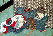 Masturbation féminine. Illustration de Kunisada Utagawa.