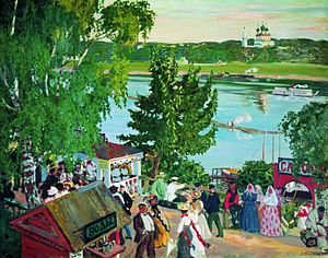 Tutayev - Promenade Along the Volga was painted by Boris Kustodiev in Romanov in 1907