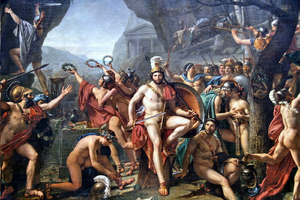 Last stand - Leonidas at Thermopylae, by Jacques-Louis David, 1814. This painting is a juxtaposition of various historical and legendary elements from the Battle of Thermopylae in Greece in 480 BC.