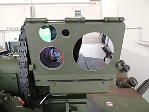 FLW remote weapon station - Rheinmetall LAZ 200 optronics of a FLW 100. It is fitted with a thermal imager, a camera and a laser rangefinder.