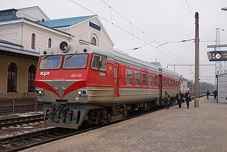 Rīgas Vagonbūves Rūpnīca - AR2-002 railbus at Vilnius passenger station, Lithuania