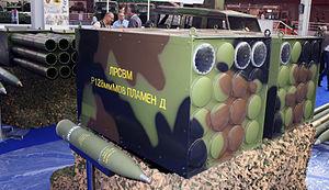 LRSVM Morava - Plamen-D 128mm rocket with improved range next to its modular container for LRSVM Morava.