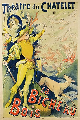 Féerie - Poster by Alfred Choubrac for an 1890 Théâtre du Châtelet production of La Biche au bois