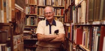 Lafferty in his library in 1998
